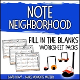 Note Neighborhood – Fill in the Blank Composition Worksheet Pack