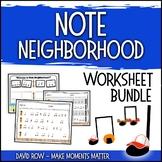 Note Neighborhood – Worksheet and Activity BUNDLE