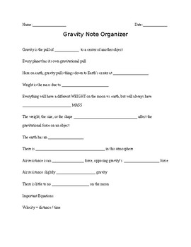 Note Outline for Gravity ppt