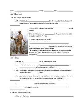 Note Packet to go with Imperial Expansion and Punic Wars Roman History PPT