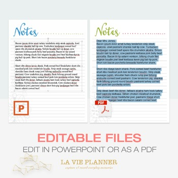 Note Pages | Teacher Planner | Binder Inserts | Editable Files