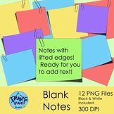 Paper Clip Art:  Notes with Paperclips