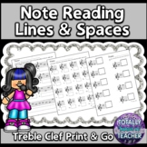 Music Worksheets: Treble Clef Note Reading Music Assessments Lines/Spaces