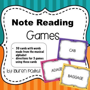 Note Reading Games - Musical Alphabet Word Cards