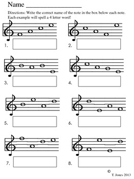 Note Reading - Music Assessment #4 Lines/Spaces