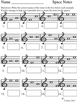 Note Reading - Music Assessment #3 Lines/Spaces