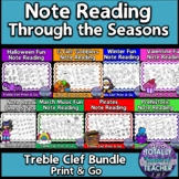 Music Worksheets:Note Reading Bundle {Assessment Treble Clef Lines/Spaces}