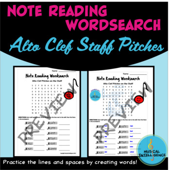 Note Reading Word Search - Alto Clef Pitches on the Staff