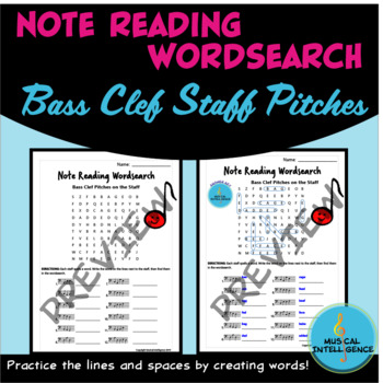 Note Reading Word Search - Bass Clef Pitches on the Staff