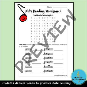 Music Note Reading Word Search - Treble Clef Pitches with High G