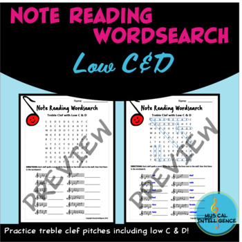 Music Note Reading Word Search - Treble Clef Pitches with Low C & D