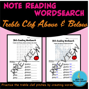 Music Note Reading Word Search - Treble Clef Pitches Above & Below the Staff