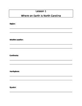 Note Sheet for North Carolina Geography