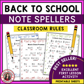 Music Activities: Back to School Note Spellers for Music Classroom Rules