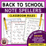Music Classroom Rules: Back to School Note Spellers