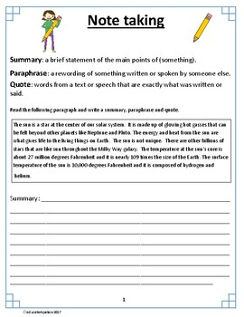 Note Taking: Summary, Quote, Paraphrase