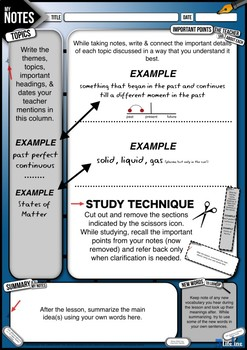 Note-Taking Guide | Cornell Style Guided Note taking Handout & Procedure