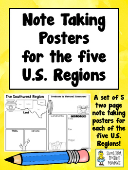 Note Taking Charts for the Five U.S. Regions