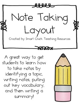 Note Taking Form ~ Useful For ANY Subject Area!