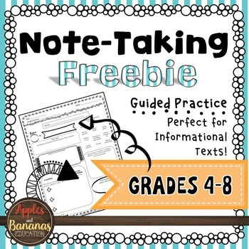 Note-Taking Freebie for Informational Text