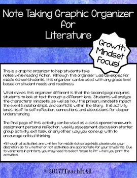 Note Taking Graphic Organizer ELA and Growth Mindset