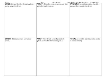 Note Taking Graphic Organizer for Social Studies