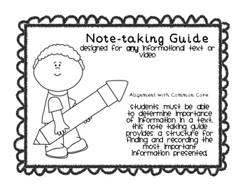 Note Taking Guide {Common Core Aligned}