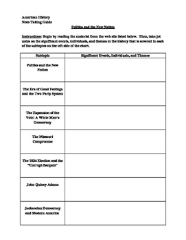 Note-Taking Guide for Politics and the New Nation