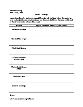Note-Taking Guide for Post-World War II Challenges