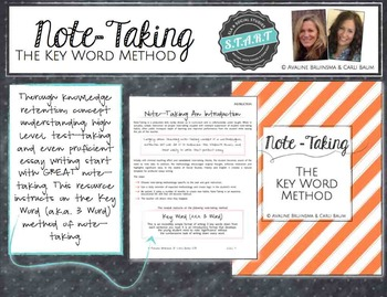 Note Taking - KEY WORD METHOD - Lesson Plan & Activities