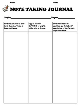 Note Taking Journal--Teach your students HOW to take notes!