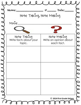 Note Taking, Note Making Fact & Opinion Graphic Organizers