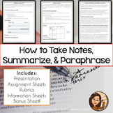 Note Taking, Paraphrasing, Summarizing for MLA Research