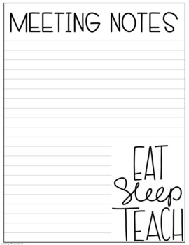 Notes Pages for Meetings Freebie