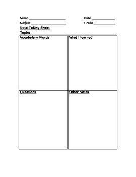 Note Taking Sheet