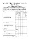 Note Taking Sheet During the IEP Meeting_ IEP-At-A-Glance