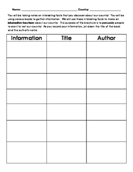 Note-Taking Template for Country Research Projects
