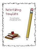 Note Taking Template for Informational Text