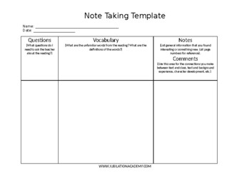 Note Taking Template (for: elem-high)