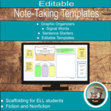 Note-Taking Templates for Google Classroom, Reading Strate