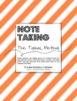 Social Studies Note Taking - (TOPICAL METHOD/Lesson Plan & Activities)