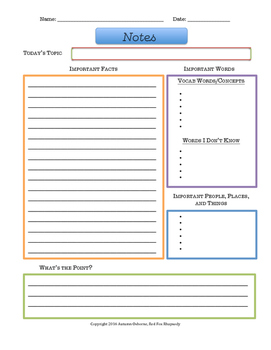 Note Taking Worksheet