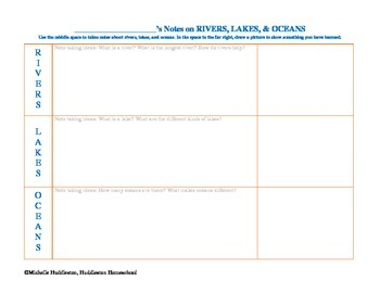 Note Taking Worksheet (Rivers, Lakes, & Oceans)