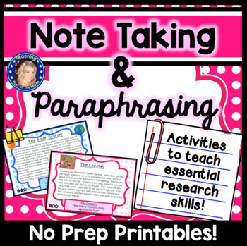 Note Taking and Paraphrasing - Research Skills