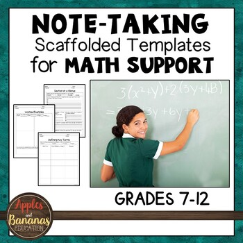 Math Note-Taking Templates (Before and During Class)