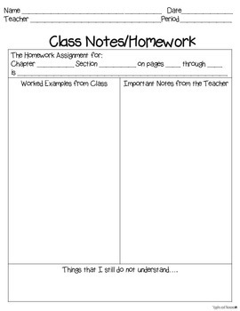 math note taking templates before and during class