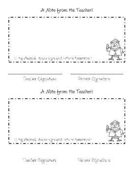 Note To Parents - Teacher Notes