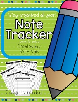 Note Tracker {FREEBIE} for Different School Subjects