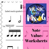 Note Value Worksheets