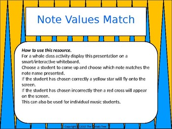 Note Values Match (Quarter Note Version) - Smartboard Activity